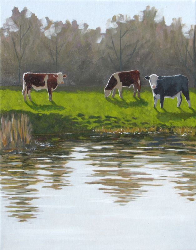 Bullocks in Outney Common, the River Waveney, oil painting on canvas