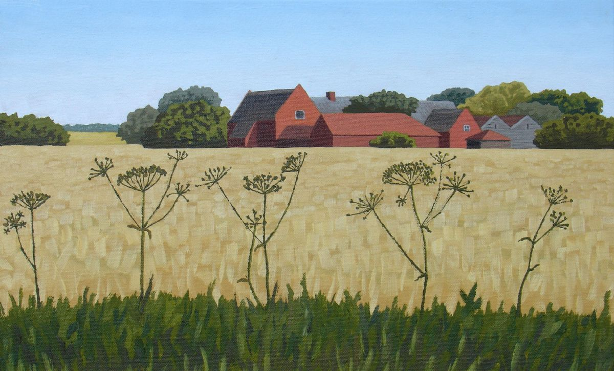 Norkfolk farm near Happisburgh, Norfolk, oil painting on canvas