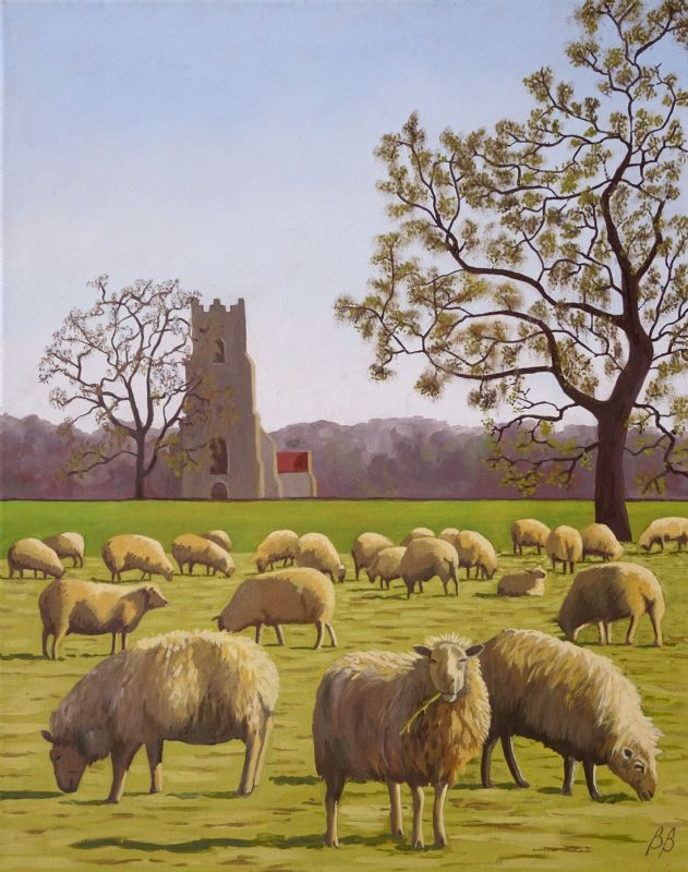 Sheep at Broome Church, Norfolk